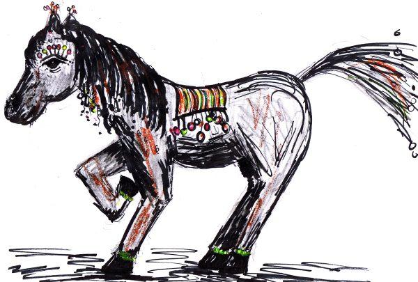 Pferd, Zeichnung: Christine Praetorius