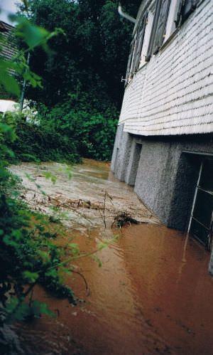 Hochwasser 1994-Wasser fließt ums Haus