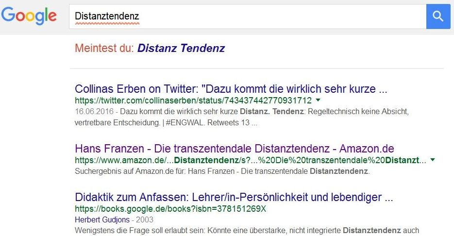 Screenshot Googlesuche Dustanztendenz