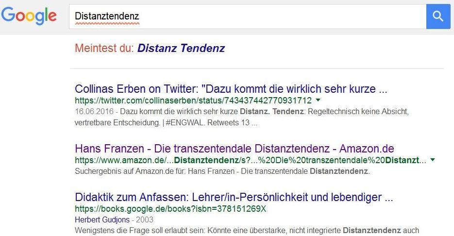 Screenshot Googlesuche Dustanztendenz